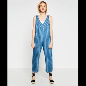 Zara Striped Denim Overalls | Size S
